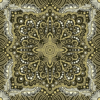 Naadloze gouden patroon van spiralen, wervelingen, kettingen op een zwarte achtergrond