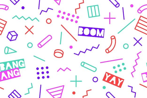 Naadloze grafische trendy patroon trendy stijlen op zwarte achtergrond. kleurrijk patroon met verschillende vormenobjecten. voor inpakpapier, stoffen achtergrond, behang.