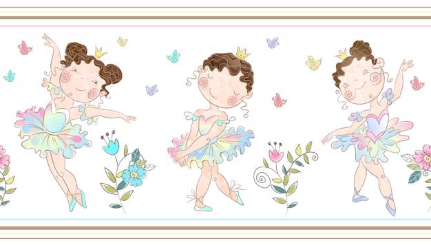 Naadloze grens met schattige ballerina's meisjes.
