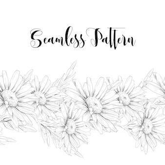 Naadloze grens met witte rozen