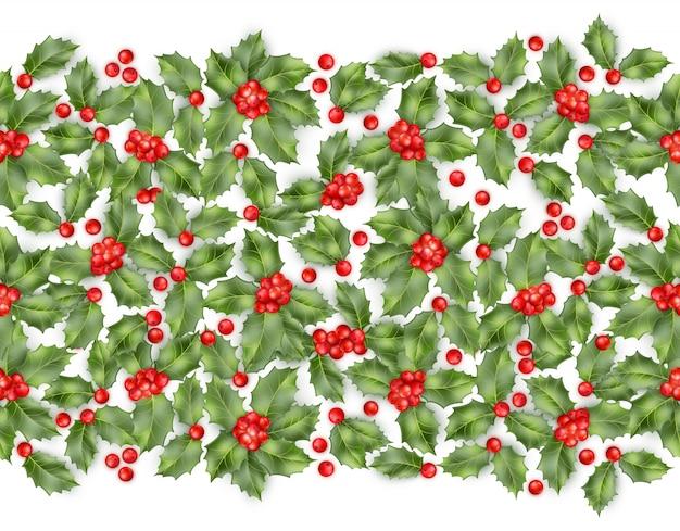 Naadloze grens van de bessen van de kerstmishulst.