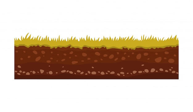 Naadloze grond, grond en land vector afbeelding voor ui-games. oppervlakte van grond, steengrasillustratie.