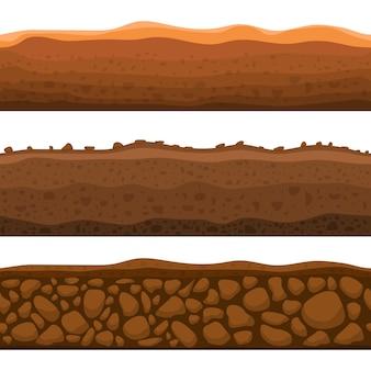 Naadloze grond sectie ontwerp illustratie geïsoleerd op een witte achtergrond