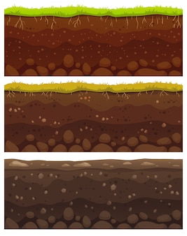 Naadloze grondlagen. vuil klei, grondoppervlak met stenen en gras textuur patroon