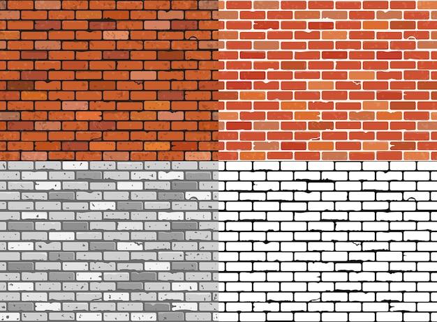 Naadloze grunge bakstenen muur texturen instellen.