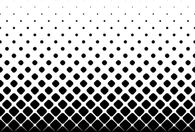 Naadloze halftone vector achtergrond gevuld met zwarte afgeronde vierkanten midden fade out