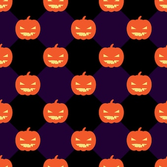 Naadloze halloween-patroonachtergrond met pompoenen