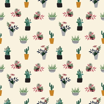 Naadloze hand getekend potplanten patroon achtergrond