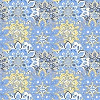 Naadloze hand getrokken mandala naadloze patroon.
