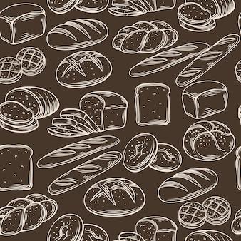 Naadloze hand tekenen brood patroon.
