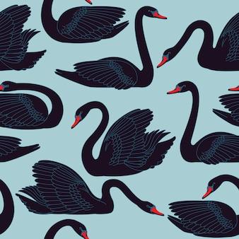 Naadloze handgeschilderde zwarte zwanen patroon.