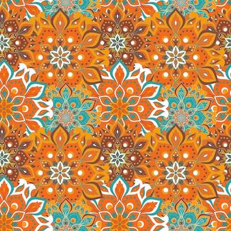 Naadloze handgetekende mandala patroon vintage elementen in orienta