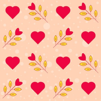 Naadloze hart en liefde plant versierd patroon op perzik achtergrond.