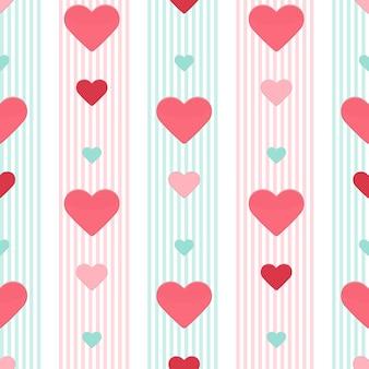 Naadloze hart roze blauw gestript patroon. vector illustratie