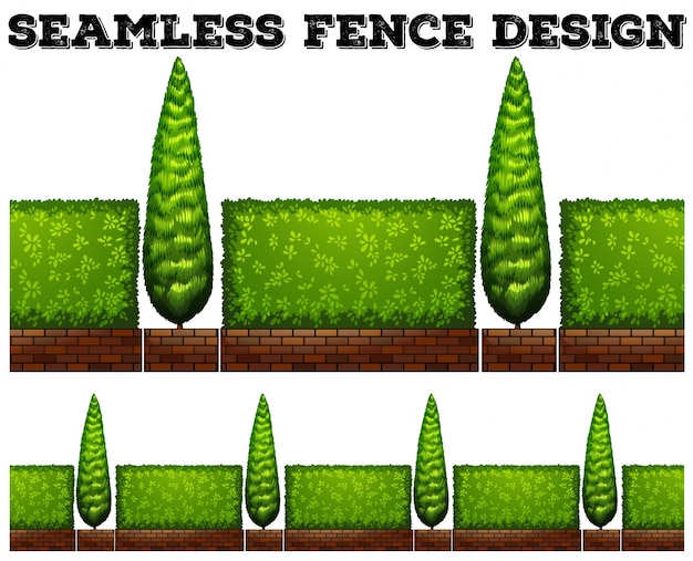 Naadloze hek met struiken
