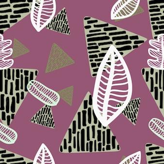 Naadloze herfst blad patroon met driehoek geometrische tekening