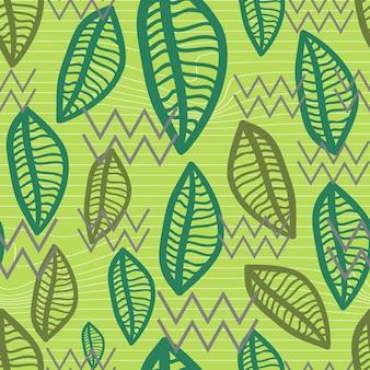 Naadloze herfst blad patroon met groene hand getrokken