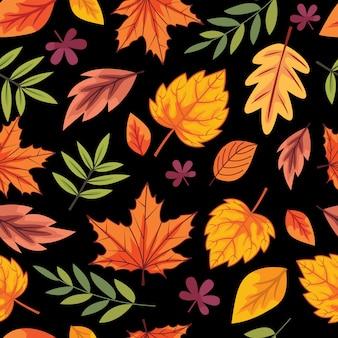 Naadloze herfstbladeren patroon achtergrond