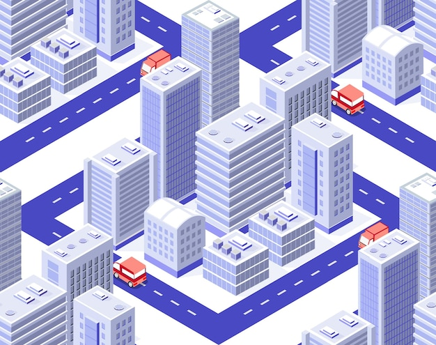 Naadloze herhalend patroon stad isometrische architectuur