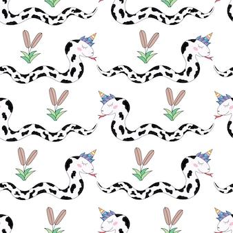 Naadloze het beeldverhaalhand getrokken stijl van de patroon leuke eenhoorn.