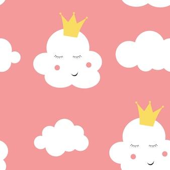 Naadloze het patroonachtergrond van kinderen met wolkenprinses