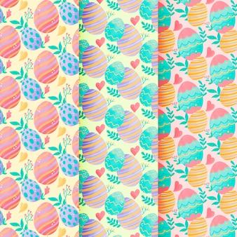Naadloze het patroonwaterverf van pasen met kleurrijke eieren