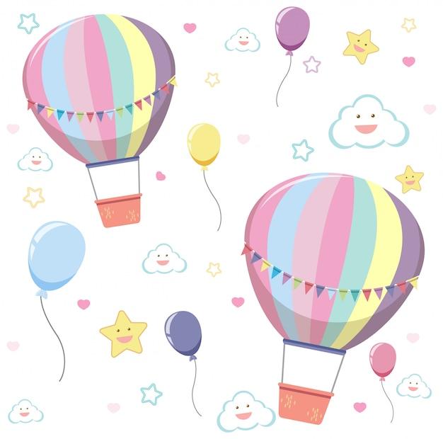 Naadloze hete luchtballon met schattige wolk en ster op witte achtergrond