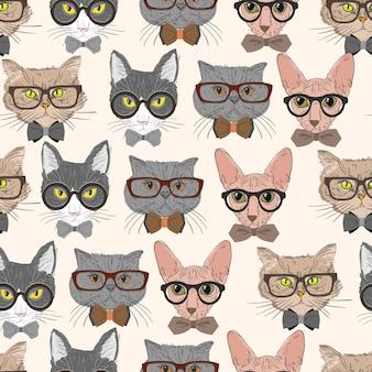 Naadloze hipster katten patroon achtergrond