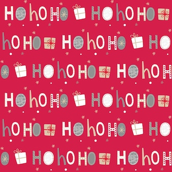 Naadloze ho ho ho brief en kerstmisgift op rode achtergrond