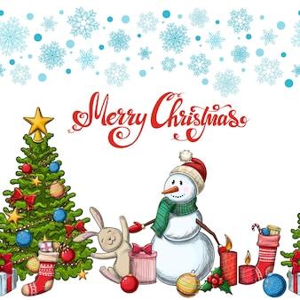 Naadloze horizontale rand met kerst iconen. kleurrijke schets stijl kerst illustratie voor decoratie.