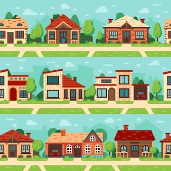 Naadloze huizen in de voorsteden