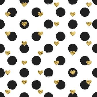 Naadloze inkt polka dot patroon met gouden hart