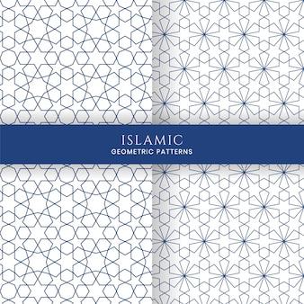 Naadloze islamitische arabische geometrische marokkaanse patronen achtergronden collectie