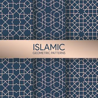 Naadloze islamitische geometrische patronen texturen collectie