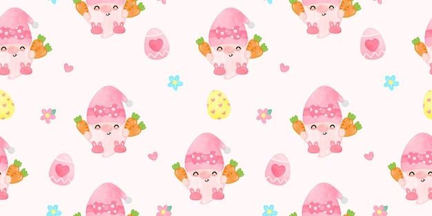 Naadloze kabouters pasen aquarel houden wortel cute cartoon afbeelding fairytale karakter kawaii stijl Premium Vector