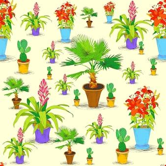 Naadloze kantoor bloemen patroon