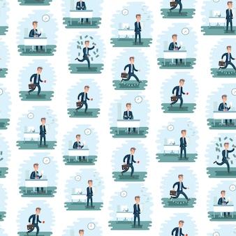 Naadloze kantoormedewerker patroon in verschillende soorten werk