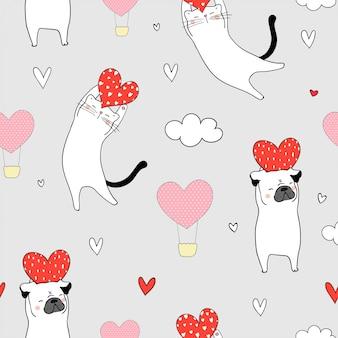 Naadloze kat en pug hond die rood hart voor valentijnskaart houdt