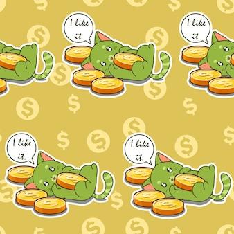 Naadloze kat houdt van munten patroon.