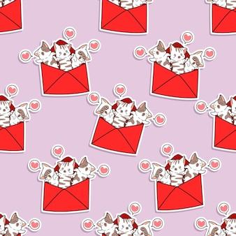 Naadloze katten in liefdesbriefpatroon