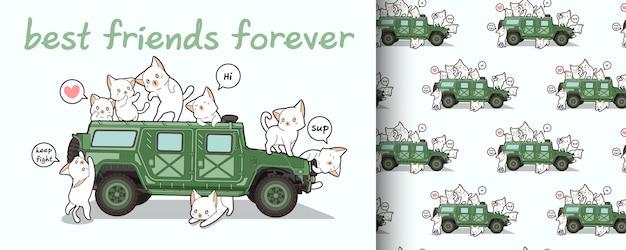Naadloze kawaii kat tekens en militaire voertuig patroon