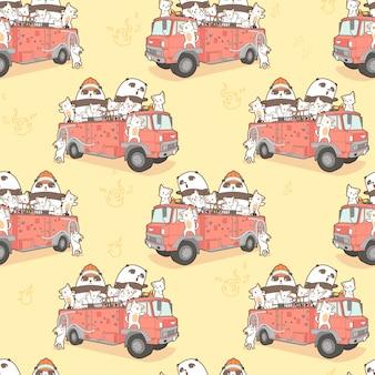 Naadloze kawaii katten en panda brandweerman op brandweerwagen patroon.
