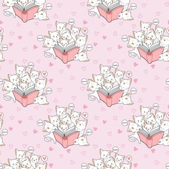 Naadloze kawaii katten houden van een boek patroon