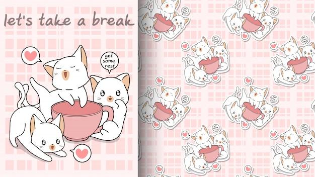 Naadloze kawaii katten met een roze bekerpatroon
