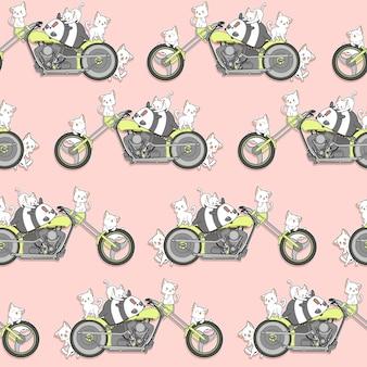 Naadloze kawaii panda en katten en motorfiets patroon.