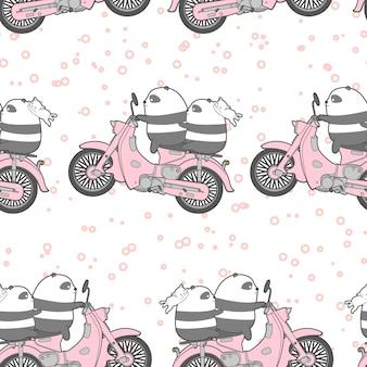 Naadloze kawaii panda rijdt motorfiets patroon.