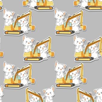 Naadloze kawaii witte katten en het tractorpatroon