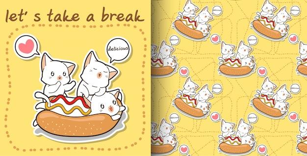 Naadloze kawaiikat in een hotdog en vriendenpatroon