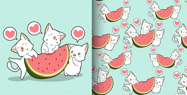 Naadloze kawaiikatten binnen en watermeloenpatroon