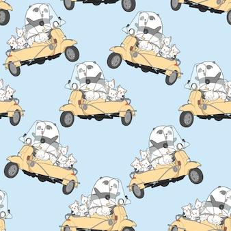 Naadloze kawaiikatten en panda met motorfietspatroon.